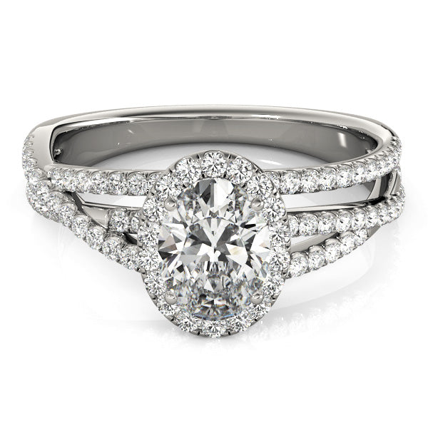 Oval Halo Engagement Interwoven Split Shank Ring Style LY71919 - Lyght Jewelers 10040 W Cheyenne Ave Ste 160 Las Vegas NV 89129