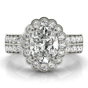 Oval Halo Engagement Large Double Row Floral Vintage Ring Style LY71927
