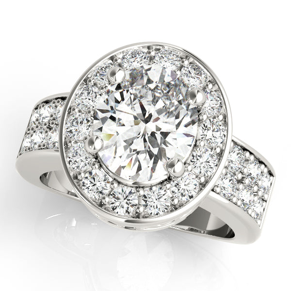 Oval Halo Engagement Double Row Vintage Ring Style LY71924