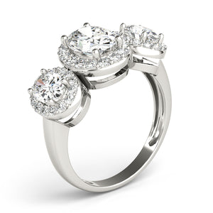Three Stone Oval Halos Engagement Ring Style LY71928