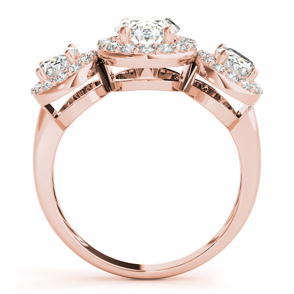 Three Stone Oval Halos Engagement Ring Style LY71928 - Lyght Jewelers 10040 W Cheyenne Ave Ste 160 Las Vegas NV 89129