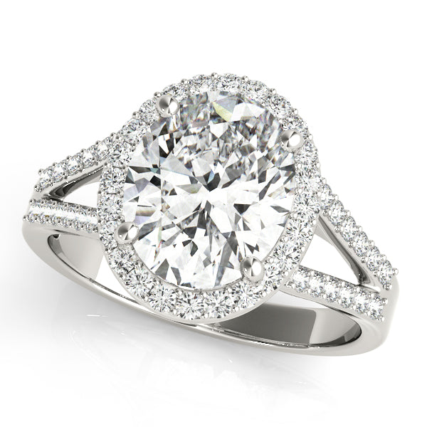 Oval Halo Engagement with Split Shank Ring Style LY71918