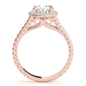 Oval Halo Engagement Ring with Split Rope Accents Style LY71908