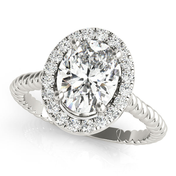 Oval Halo Engagement Ring with Single Rope Accents Style LY71911