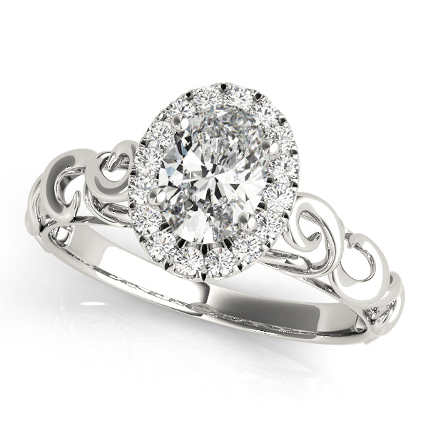Oval Halo Engagement Contemporary Ring Style LY71922