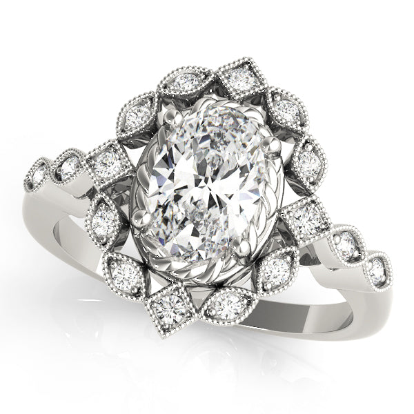 Oval Halo Vintage Engagement Ring Style LY71910