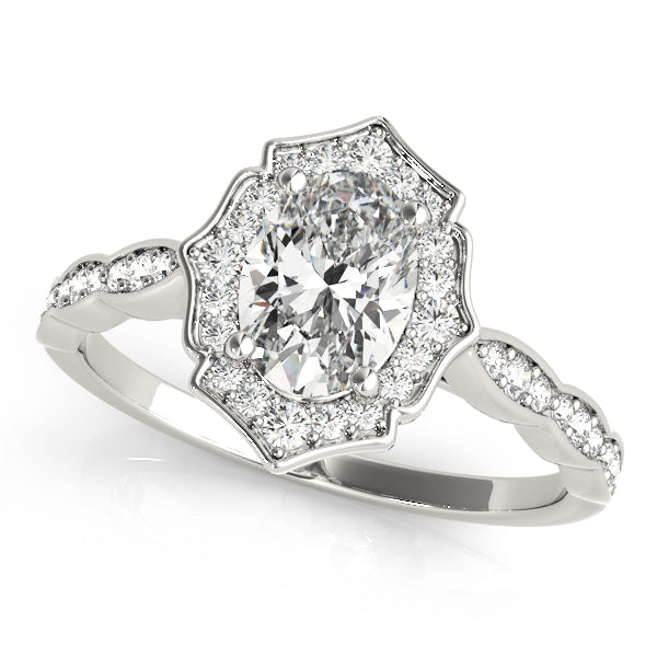 Oval Halo Engagement Fancy Vintage Ring Style LY71931