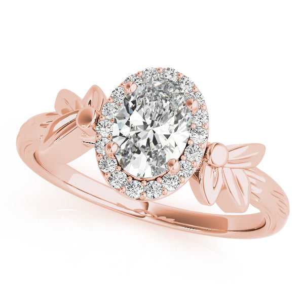 Oval Halo Engagement Floral Ring Style LY71914