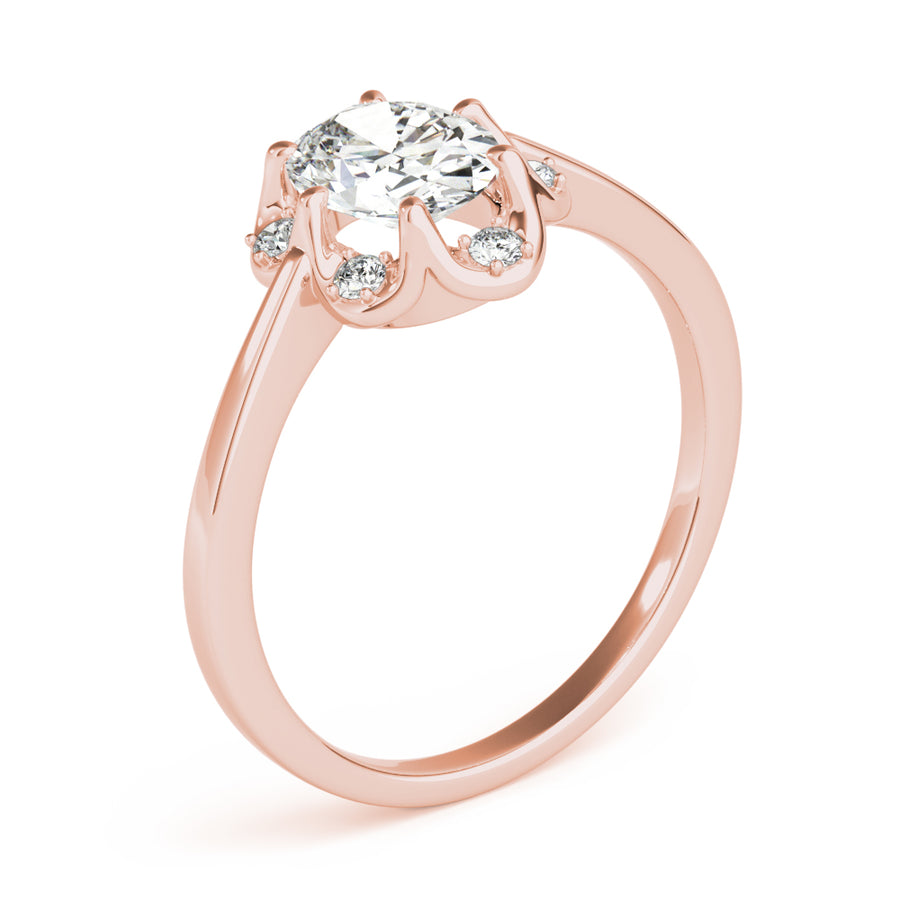 Oval Halo Engagement Floral Vintage Ring Style LY71929