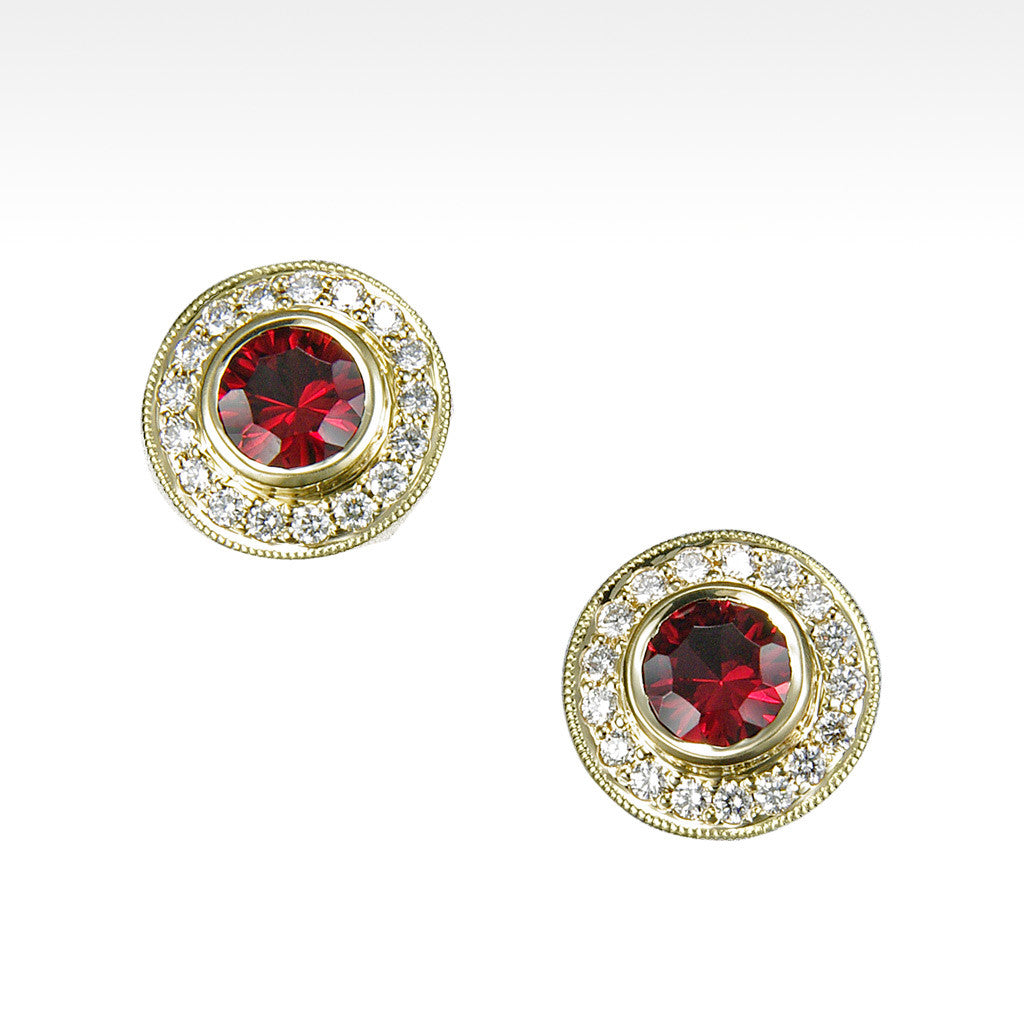 """Absolute"" Cranberry Garnet Bezel Set Earrings with Ideal Cut Diamonds in 14K Yellow Gold - Lyght Jewelers 10040 W Cheyenne Ave Ste 160 Las Vegas NV 89129"