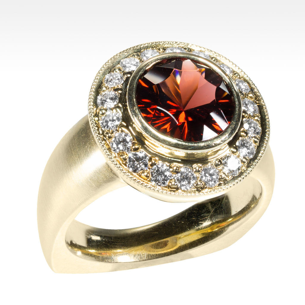 """Absolute"" Cranberry Garnet Bezel Set Ring with Ideal Cut Diamonds in 14K Yellow Gold - Lyght.com"