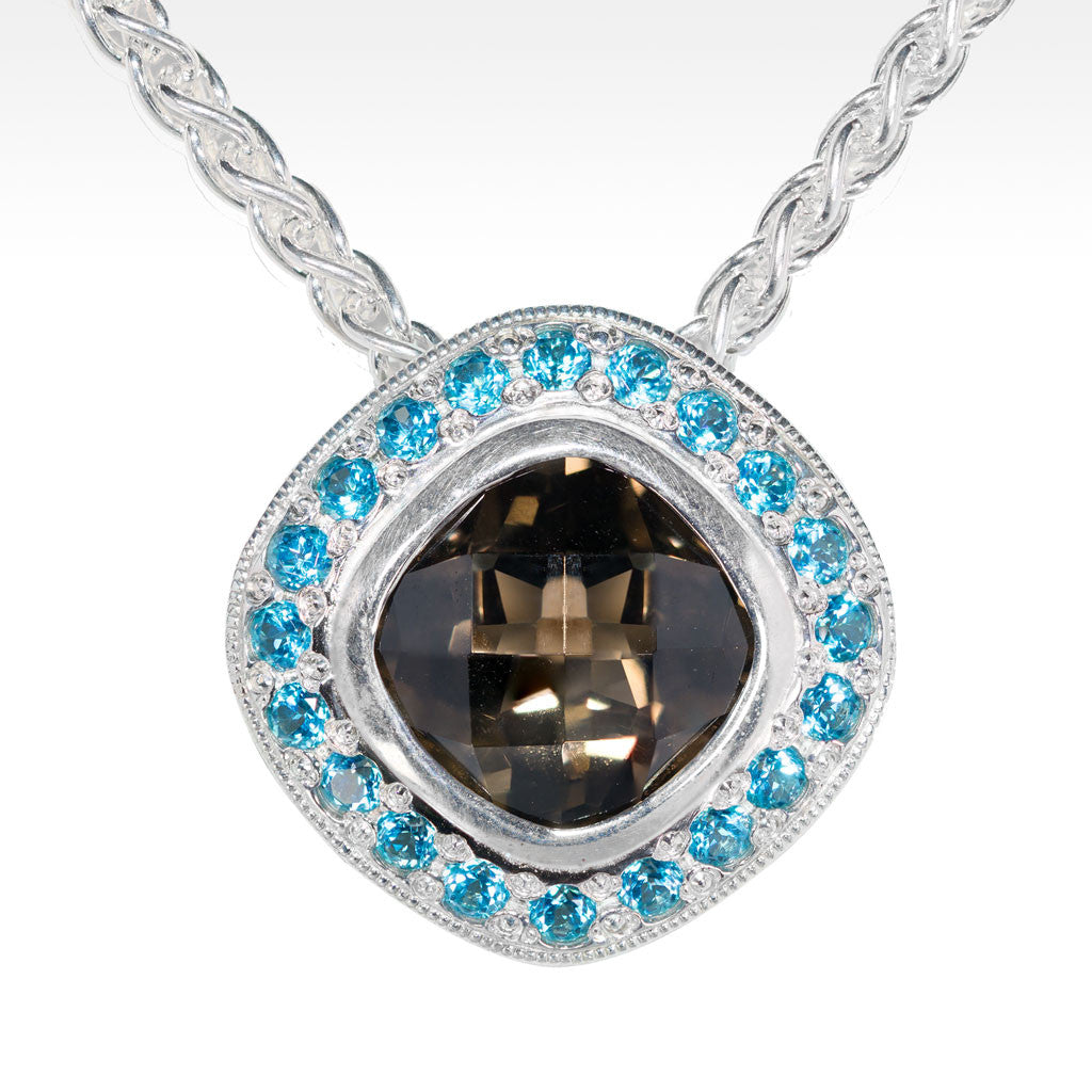 """Allure"" Smokey Quartz with Blue Topaz Pendant in Argentium Silver - Lyght.com"