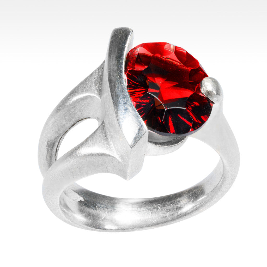 """Ample"" Concave Cut Garnet Ring in Argentium Silver - Lyght Fine Art and Jewelry 10040 W Cheyenne Ave Ste 160 Las Vegas NV 89129"