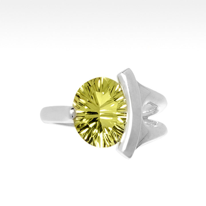 """Ample"" Concave Cut Lemon Quartz Ring in Argentium Silver - Lyght Jewelers 10040 W Cheyenne Ave Ste 160 Las Vegas NV 89129"