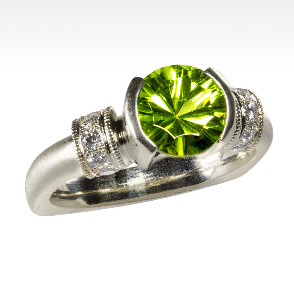 """Apple Trance"" Arizona Peridot Ring with Ideal Cut Diamonds in 14K Green Gold - Lyght Fine Art and Jewelry 10040 W Cheyenne Ave Ste 160 Las Vegas NV 89129"