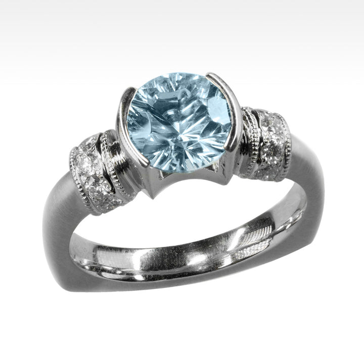 """Aqua Trance"" Antero Aquamarine Ring with Ideal Cut Diamonds in 14K White Gold - Lyght Jewelers 10040 W Cheyenne Ave Ste 160 Las Vegas NV 89129"