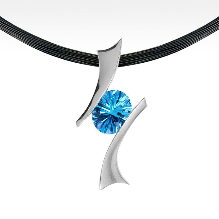 """Bandera"" Electric Blue Topaz Pendant in Argentium Silver with Chain - Lyght.com"