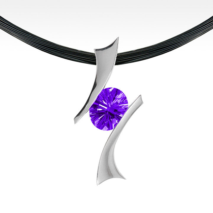 """Bandera"" Amethyst Pendant in Argentium Silver with Chain - Lyght.com"