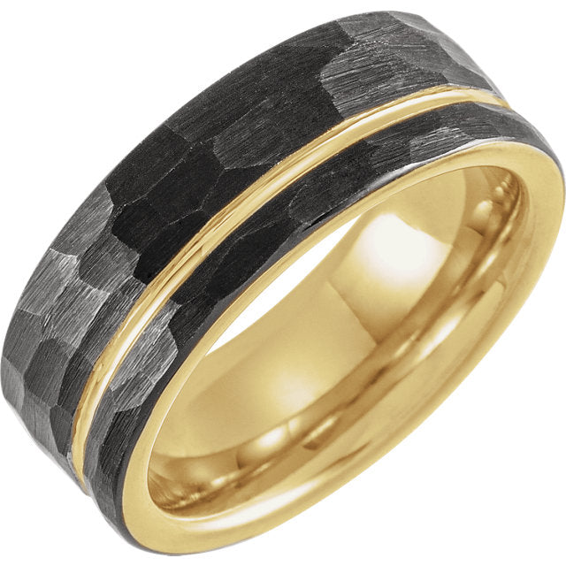 Black & 18K Yellow Gold Plated Tungsten Flat Edge Grooved & Hammered 8mm Band - Lyght Jewelers 10040 W Cheyenne Ave Ste 160 Las Vegas NV 89129