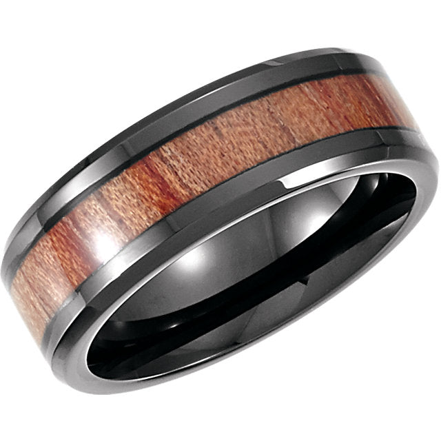 Black Cobalt Beveled Edge Rose Wood Inlay 8mm Band - Lyght Jewelers 10040 W Cheyenne Ave Ste 160 Las Vegas NV 89129