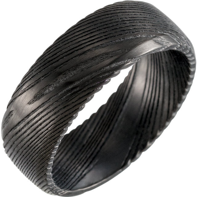 Full Black Damascus Steel 8 mm Wood Grain Band - Lyght Jewelers 10040 W Cheyenne Ave Ste 160 Las Vegas NV 89129