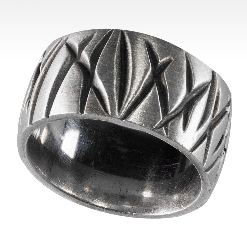 """Blades"" Argentium Silver Men's Ring - Lyght Fine Art and Jewelry 10040 W Cheyenne Ave Ste 160 Las Vegas NV 89129"