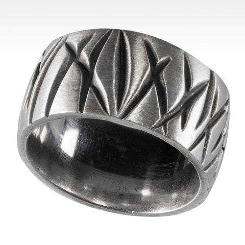 """Iron Cross"" Black Diamond Ring in Argentium Silver"