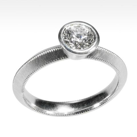 """Bling"" Ideal Cut Round Diamond Ring Bezel Set in 18K White Gold"