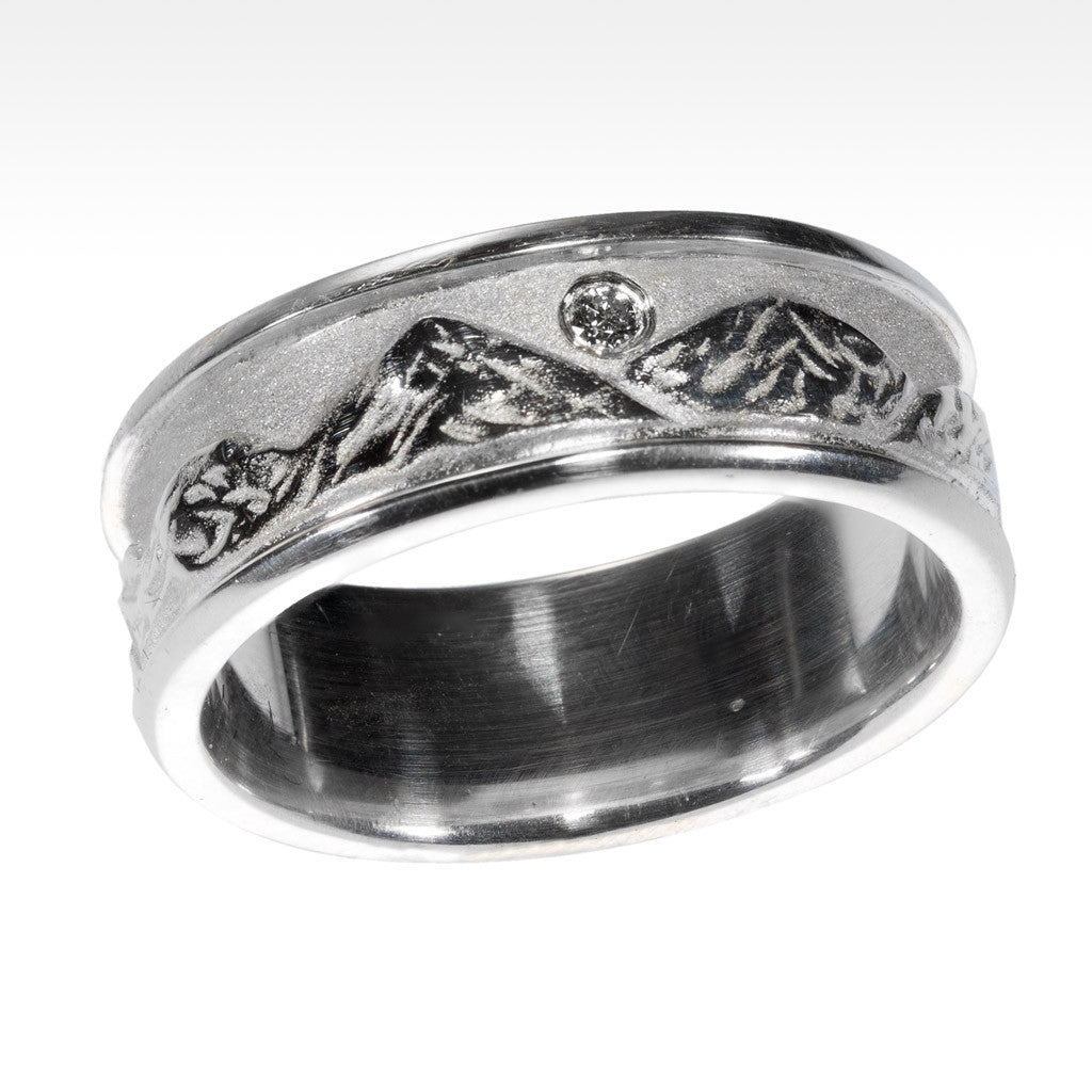"""Brushed Peaks"" Mountain Ring in Argentium Silver with Ideal Cut Diamond - Lyght.com"