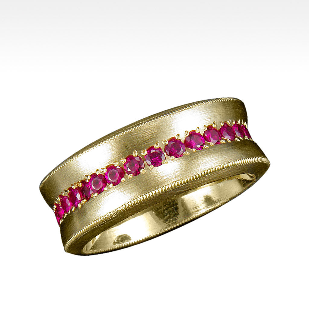 """Cirque"" Ruby Ring in 18 Karat Yellow Gold - Lyght.com"