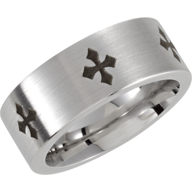 Cobalt 8 mm Laser Engraved Cross & Satin Finished 8mm Band