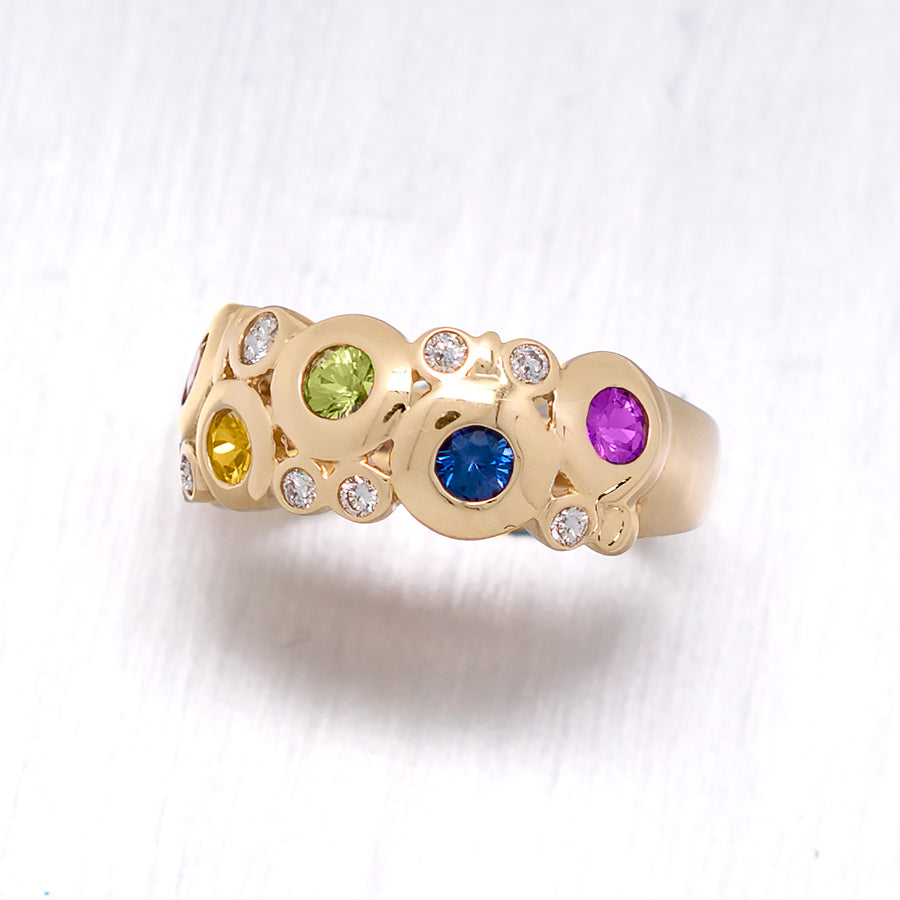 """Concentric"" Round Brilliant Cut Bezel Multi-Colored Sapphires and Diamonds in 14K Yellow Gold Ring - Lyght Jewelers 10040 W Cheyenne Ave Ste 160 Las Vegas NV 89129"
