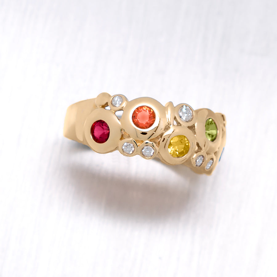 """Concentric"" Round Brilliant Cut Bezel Multi-Colored Sapphires and Diamonds in 14K Yellow Gold Ring - Lyght Fine Art and Jewelry 10040 W Cheyenne Ave Ste 160 Las Vegas NV 89129"