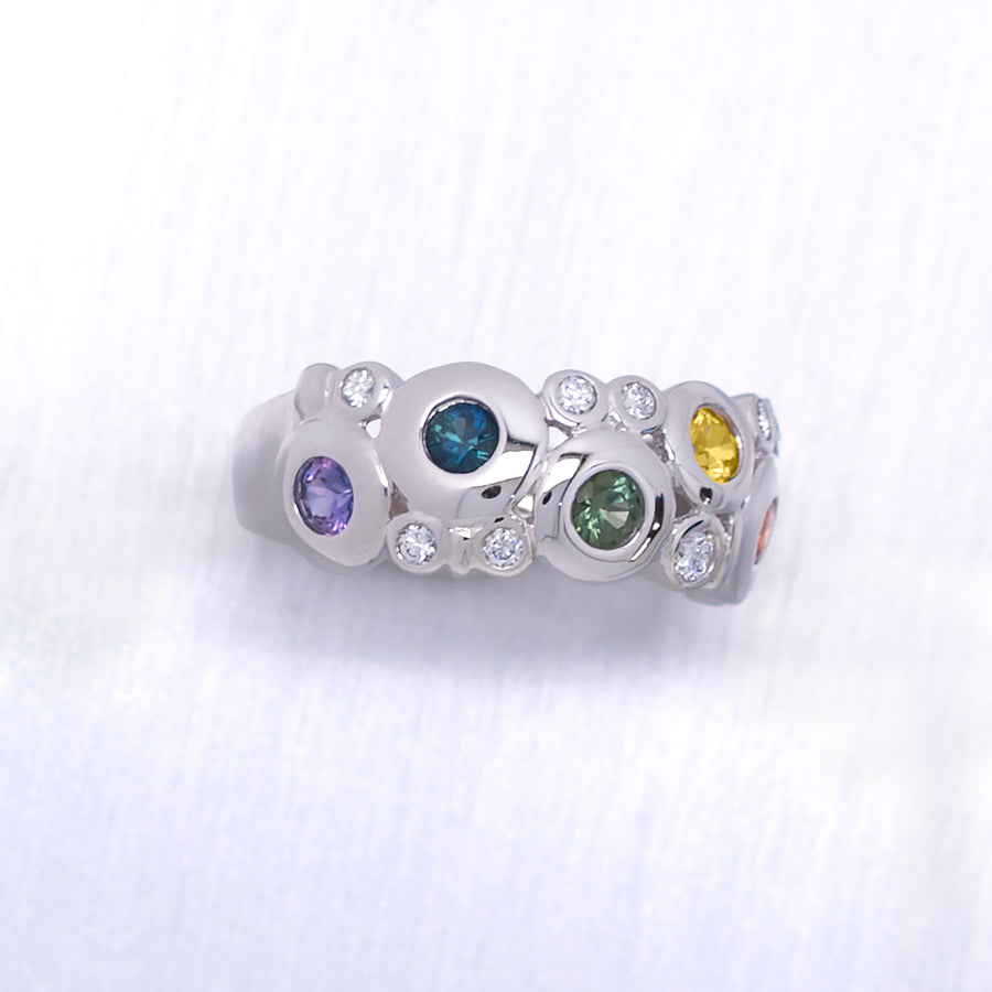 """Concentric"" Round Brilliant Cut Bezel Rainbow-Colored Sapphires and Diamonds in 14K White Gold Ring - Lyght Jewelers 10040 W Cheyenne Ave Ste 160 Las Vegas NV 89129"