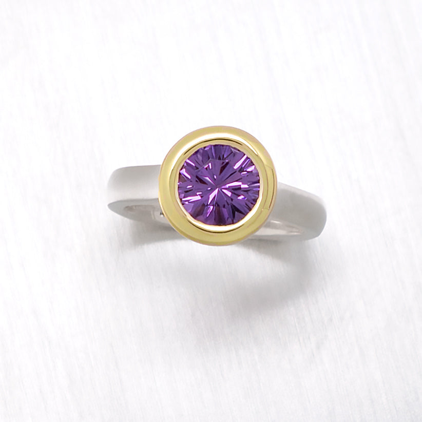 """Corona"" 18K Yellow Gold Bezel Amethyst Ring with Two Tone Argentium Silver - Lyght Fine Art and Jewelry 10040 W Cheyenne Ave Ste 160 Las Vegas NV 89129"