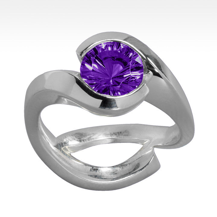 """Cradle"" Amethyst Ring in Argentium Silver - Lyght Jewelers 10040 W Cheyenne Ave Ste 160 Las Vegas NV 89129"