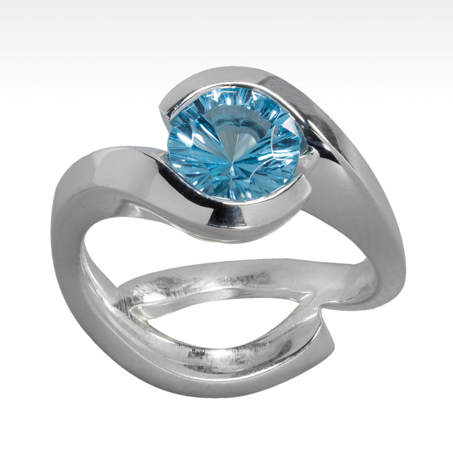 """Cradle"" Electric Blue Topaz Ring in Argentium Silver - Lyght Jewelers 10040 W Cheyenne Ave Ste 160 Las Vegas NV 89129"