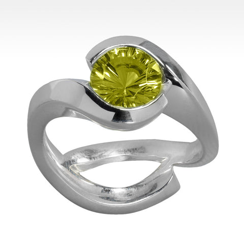 """Ingot"" Green Tourmaline Ring with Ideal Cut Diamonds in 14K White Gold"