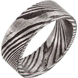 Sanded Black Flat Band Damascus Steel 8 mm Wood Grain Band - Lyght Jewelers 10040 W Cheyenne Ave Ste 160 Las Vegas NV 89129