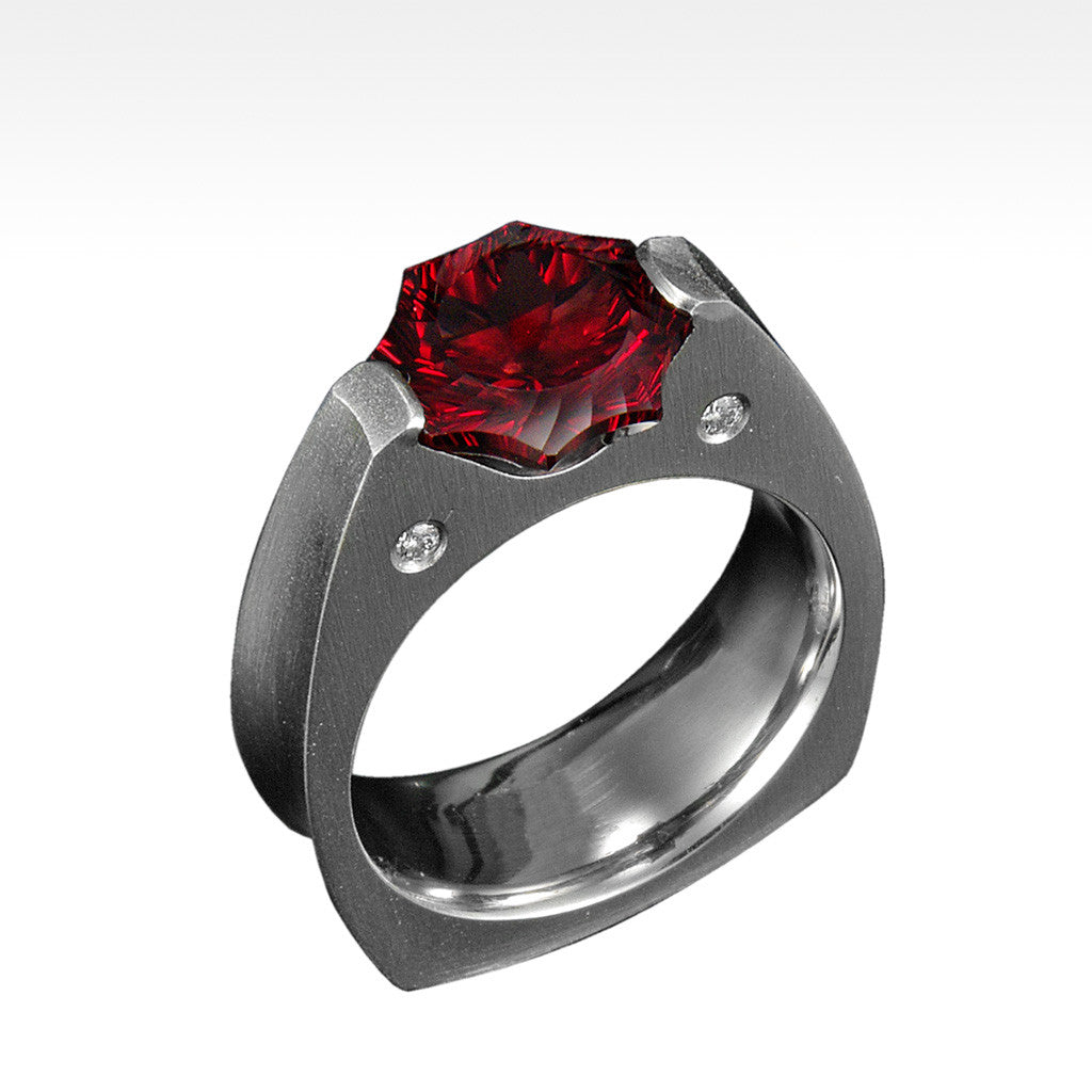 """Das Sonne"" Cranberry Garnet Ring with Ideal Cut Diamonds in 14K White Gold - Lyght Fine Art and Jewelry 10040 W Cheyenne Ave Ste 160 Las Vegas NV 89129"
