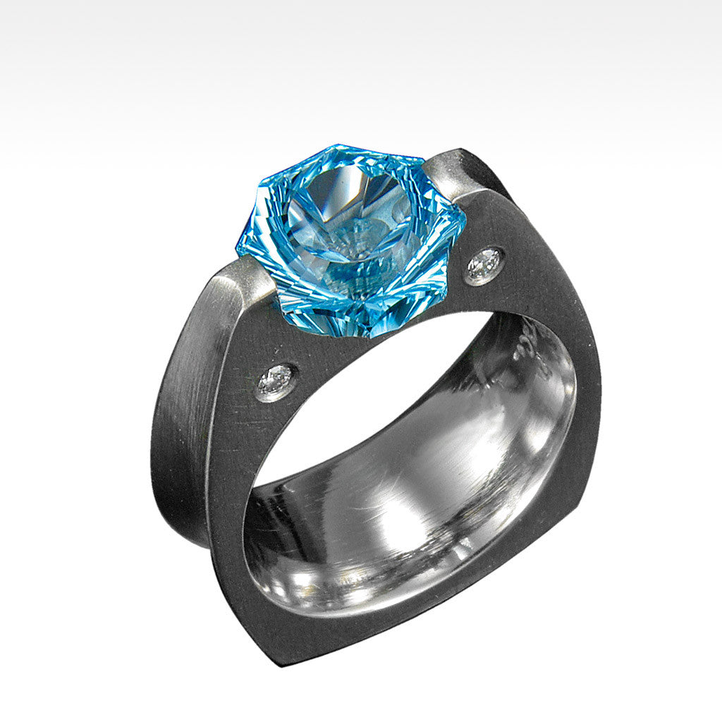 """Das Sonne"" Blue Topaz Ring with Ideal Cut Diamonds in 14K White Gold - Lyght.com"