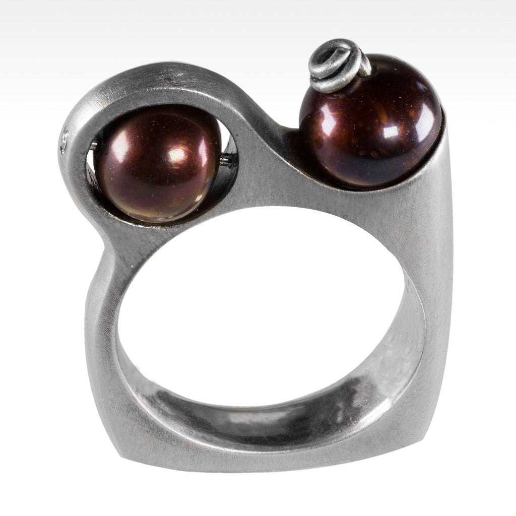 """Decadent"" Two Chocolate Pearl Ring with Diamonds in Argentium Silver - Lyght Fine Art and Jewelry 10040 W Cheyenne Ave Ste 160 Las Vegas NV 89129"