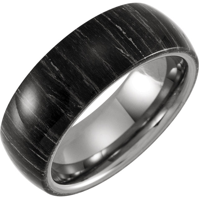 Domed Zebra Wood Band Inlay with Tungsten Core 8mm Band - Lyght Jewelers 10040 W Cheyenne Ave Ste 160 Las Vegas NV 89129