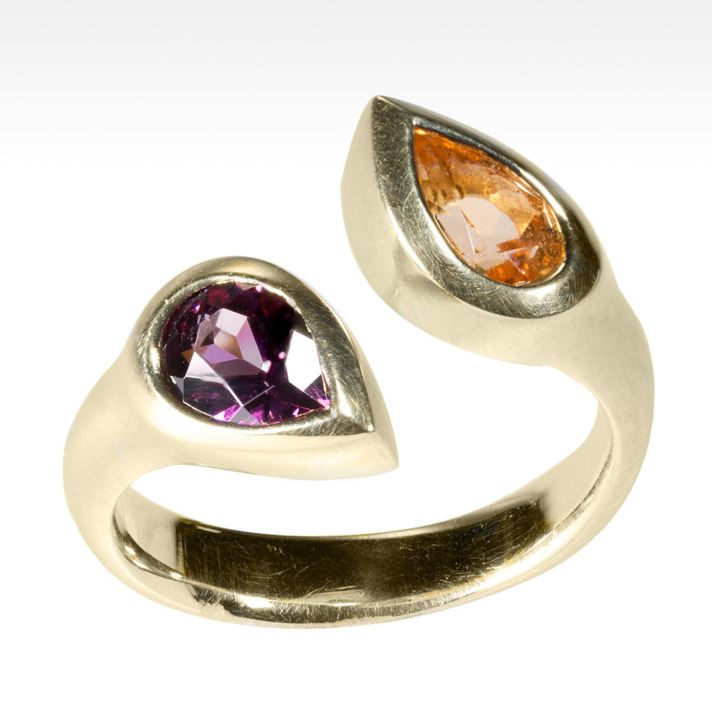 """Duo"" Spessartite and Rhodolite Garnet Ring in 14K Yellow Gold - Lyght.com"