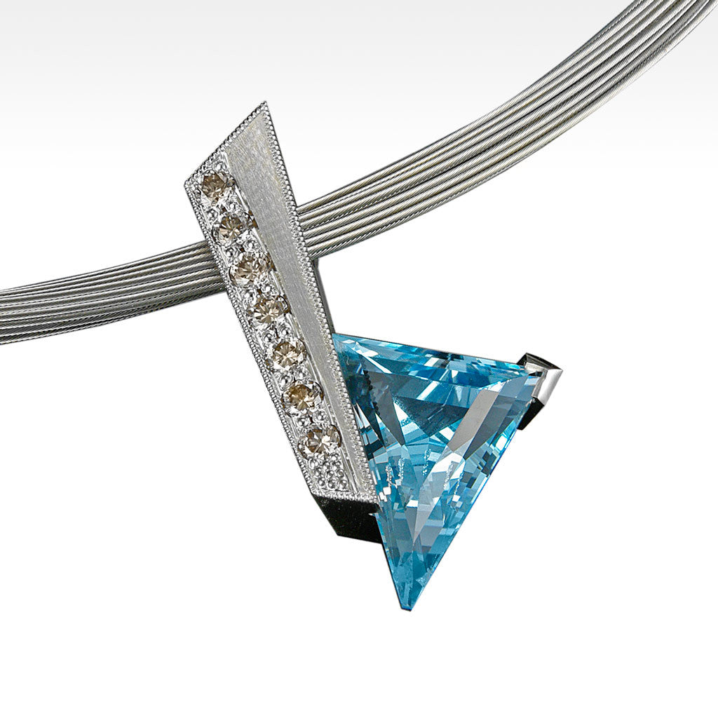 """Edge"" Natural Blue Topaz Pendant with Chocolate Diamonds in 18K White Gold with Chain - Lyght.com"