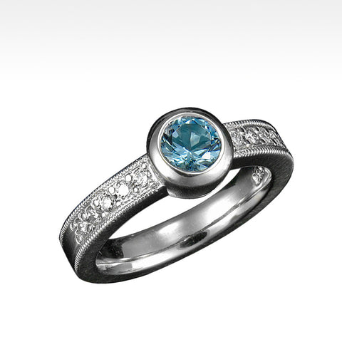 """Endeavor"" Aquamarine Ring with Ideal Cut Diamonds in 14K White Gold"