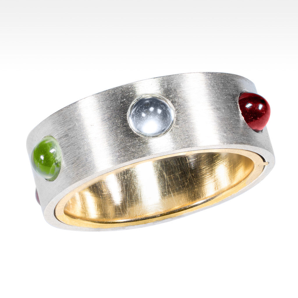 """Eureka"" Multi-gemstone Topaz, Peridot, Garnet Ring in 14K White and Yellow Gold - Lyght.com"