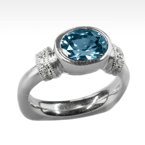 """Exhalt"" Cambodian Blue Zircon Ring with Ideal Cut Diamonds in 14K White Gold"