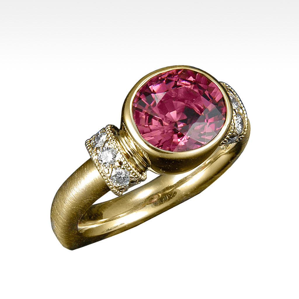 """Exhalt"" Tourmaline Ring with Ideal Cut Diamonds in 14K Yellow Gold. - Lyght Fine Art and Jewelry 10040 W Cheyenne Ave Ste 160 Las Vegas NV 89129"