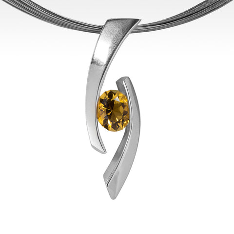 """Pulse"" White Diamonds Pendant in 18K Yellow Gold with 14K White Gold Chain"